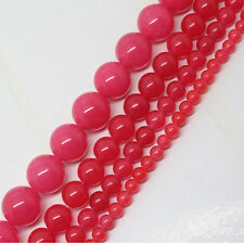 """4-14mm Peach Jade Round DIY Jewelry Making Necklace Loose Beads 15"""""""