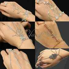 Rhinestone Bridal Wedding Hand Harness Bracelet Slave Chain Link Finger Ring UK