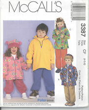 McCall's 3387 Childrens' Jackets, Pullover Top, Pull-On Pants and Hat - 4, 5, 6