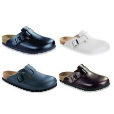 Birkenstock Boston Leather Clogs - Soft Footbed - black white brown blue