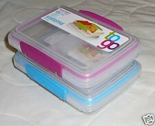2 Sistema Small Split Compartment Food Storage Snap Lid Container BPA Free 11.8