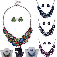 Woman Vintage Jewelry Flower Pendant Chain Bib Choker Necklace Earrings Set