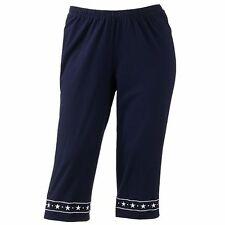 Cathy Daniels Pull-On Ship Shape Navy Blue Embroidered Capris Pants