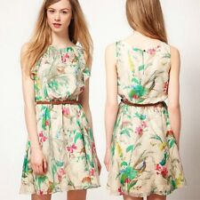 Fashion Flower Sleeveless Chiffon Womens Mini Dress Tunic Faux Leather Belt New