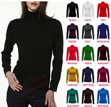 Solid Colors Long Sleeve Seamless Polo Mock Turtle Neck Layering Elastic Top