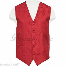 Red Paisley Tuxedo Suit Dress Vest Waistcoat Formal Prom Wedding Prom XS - 6X