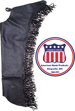 Adults Smooth leather Show chaps with fringe Made in the USA by congress leather