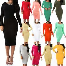WOMEN PLUS SIZE Sexy SOLID Long Sleeve BODYCON DRESS