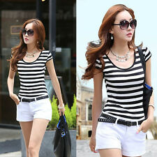 Summer New Fashion Womens Shirt Short Sleeve Slim Fitted T-shirt Tops Blouse