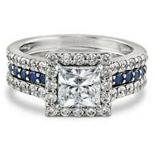 BERRICLE Sterling Silver Princess CZ Halo Engagement Wedding Insert Ring Set