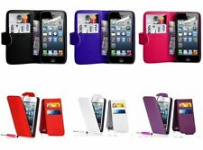 Leather Flip Wallet Case Cover Pouch For iPhone 5 5S with Free Screen Protector
