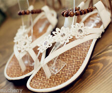 Women Ivory white lace flowers wood beads flat sandals flip flop shoes size US