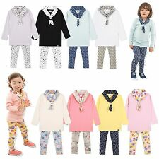 "Vaenait Baby Korea Kids Boys Girls Outfits Top+Bottm+Scarf ""e-Scarf Set"" 2T-6T"