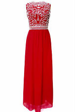 NEW Red Maxi Dress Gem Sequin Embellished Bridesmaid Evening Party Prom Gown