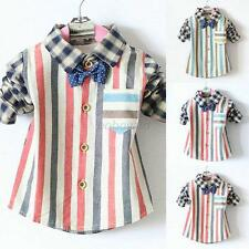 Casual Kid Boy Cotton Shirts Lapel Shirt Tops 0-4Y Baby Clothes Free Bow Tie B12