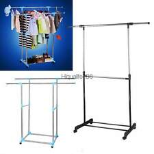 Double Adjustable Portable Clothes Hanger Rolling Garment Rack Duty Rail HE8Y