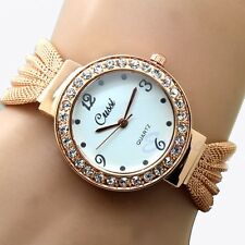 Women Bangle Bracelet Stainless Steel Crystal Dial Quartz Analog Wrist Watch New