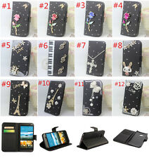 Bling Diamonds Pearls flowers leather flip wallet stand case cover skin For HTC