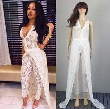 sexy party sheer lace jumpsuit dress celebrity Miracle Watts playsuit birthday