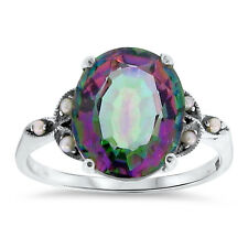 5 Ct HYDRO MYSTIC QUARTZ & PEARL ANTIQUE STYLE .925 STERLING SILVER RING,    #94