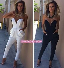 New Women Sexy Bodycon Bandage Strapless Tight Waist Jumpsuits Exposed party