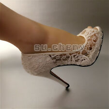 10.5cm Ivory lace silk satin mesh open toe Wedding shoes Bridal heels women sz