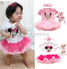 Infant Baby Girls 3PCS Minnie Mouse Romper Tutu Dress Headband Bow Shoes Outfits