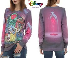 Disney Beauty and The Beast Stained Glass Rose Crew Pull Over Top S - XL UK8-16
