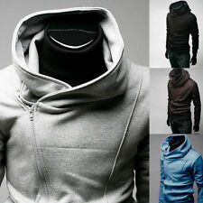 New Men's Fashion Zip Long Sleeve Casual Solid Hooded Hoodie Coat Jacket Outwear