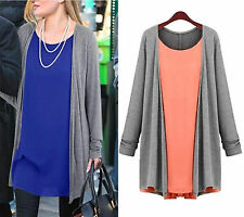 Summer Women Plus Size stitching hedging long sleeve cardigan fake 2pcs Dress