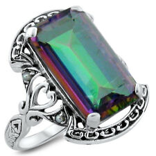 7 CT. HYDRO MYSTIC QUARTZ & PEARL ANTIQUE DESIGN .925 STERLING SILVER RING,#293