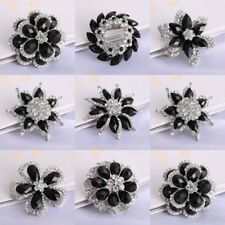 Clear Black Rhinestone Crystal Wedding Bridal Bouquet Silver Flower Brooch Pins