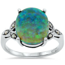 GREEN LAB OPAL SEED PEARL ANTIQUE VICTORIAN STYLE .925 STERLING SILVER RING,#142