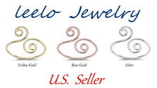925 Sterling Silver Swirly Knuckle, Toe Ring Fashion Women Teens gift rose gold