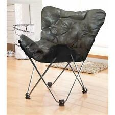 Faux Leather Butterfly Chair Black Brown Frame Cover Portable Seat Furniture NEW