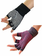 Unisex Yoga Pilates Fingerless Exercise Grip Gloves Non Slip One Size Fits Most