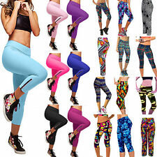 2015 Women Yoga Athletic Sport Pants High Waist Cropped Stretch Workout Leggings