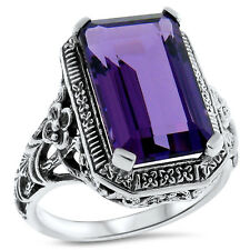 6 CT. PURPLE LAB AMETHYST ANTIQUE ART DECO STYLE .925 STERLING SILVER RING, #373