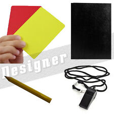 Football Referee Kit Whistle Red Yellow Cards Game Score Pocket Rugby Set Pencil
