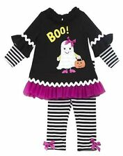 NWT Girls Rare Editions BOO Ghost Tunic Ruffle Legging Set Halloween SZ12-24mths