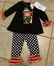 NWT Girls Rare Editions Friendly Witch Tunic Legging Set Halloween SZ12-24mths