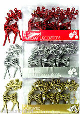 3 x GLITTERED REINDEER CHRISTMAS XMAS TREE DECORATIONS ORNAMENT SHATTER PROOF