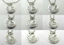 "New Family combination ""I LOVE YOU TO THE MOON AND BACK "" Charm Necklace Pendant"