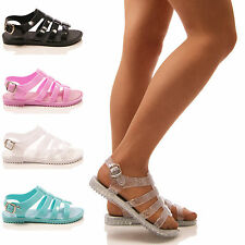 LADIES WOMENS JELLY SANDALS JELLIE GLADIATOR HOLIDAY SYN RUBBER SHOES SIZE