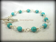 Turquoise Howlite Silver Wire Wrapped Bracelet ~ Any Size Handmade