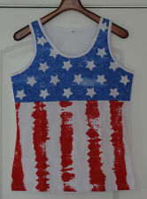 New Women's American Flag Tank Top T-Shirt Stars Stripes Red White Blue