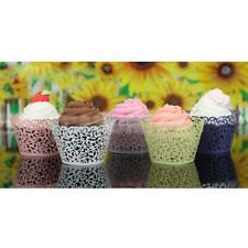 12Pcs Vines Pattern Hollow Cupcake Wrappers Muffin Cake Lace Wraps Cases Wedding