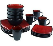 16-Pc Dinnerware Set Modern Dinning Service Square Plates Dishes Glossy Red Tan