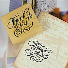 Hot Wooden Rectangle Stamp Rubber Craft Favour Scrapbooking Thank You Love CN