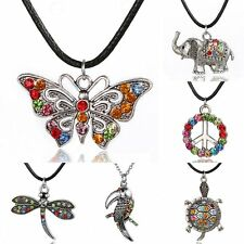 Retro Fashion Crystal Rhinestone Animal Pendant Leather Necklace Jewelry Gifts